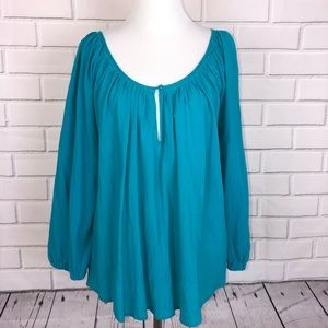 JOIE l Turquoise Teal Shirt Peasant Sz Medium
